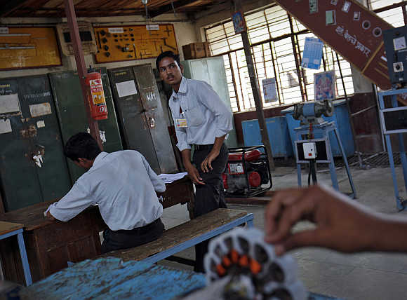 Students work at the electrical department of the Industrial Training Institute in Beed, about 350km east of Mumbai.