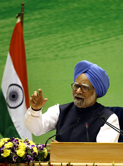 Prime Minister Manmohan Singh speaks during a news conference in New Delhi.