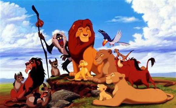 Characters in the animated film from the Walt Disney Company 'The Lion King''.
