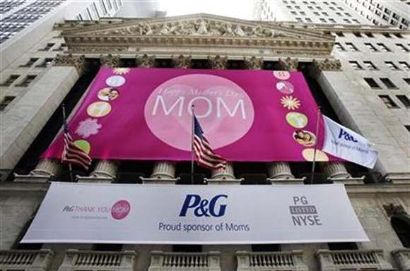 Procter and Gamble trademark is seen hanging outside the New York Stock Exchange.