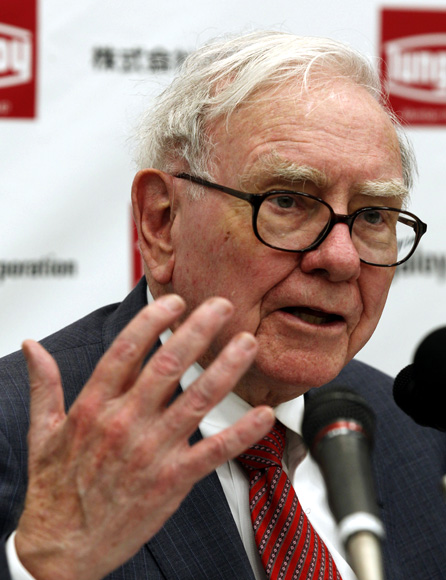 Berkshire Hathaway Chairman Warren Buffett speaks at a news conference after the opening ceremony of Tungaloy Corp's new plant in Iwaki, Fukushima Prefecture.