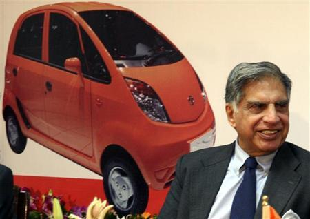 Ratan Tata smiles during a news conference in Gandhinagar, near Ahmedabad.