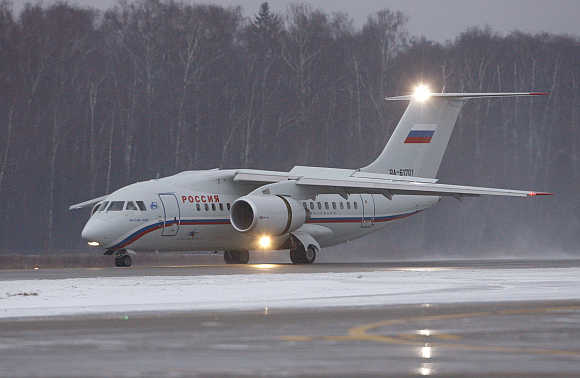 Rossiya's plane taxies down the runway in Moscow.