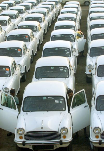 Rows of Ambassador cars are seen at the Hindustan Motors plant.