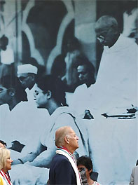 US Vice President Joe Biden arrives to pay homage at the Mahatma Gandhi memorial at Gandhi Smriti, in New Delhi July 22, 2013. Photograph: Adnan Abidi/Reuters