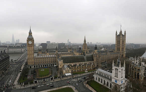 Houses of Parliament in central London.