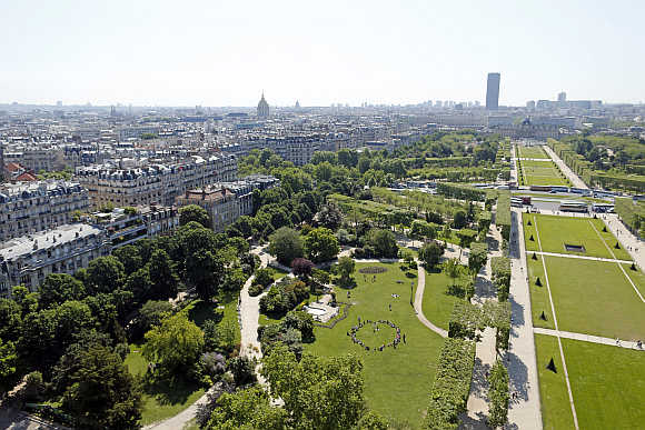 A view of the Champs de Mars and the Paris sky line.
