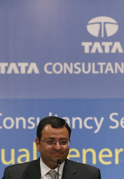 Tata Group Chairman Cyrus Mistry speaks to shareholders during the Tata Consultancy Services (TCS) annual general meeting.