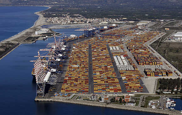 Italy's biggest container port Gioia Tauro is seen from a helicopter in the southern region of Calabria.