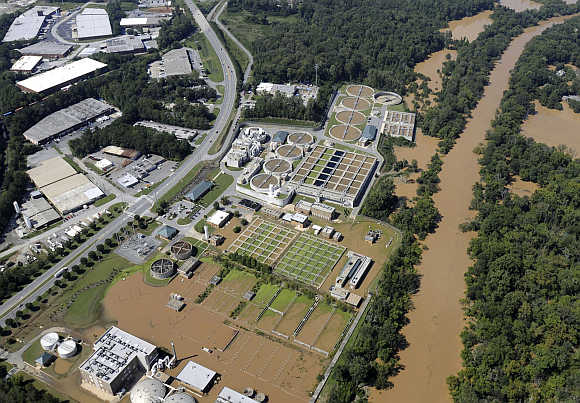 Floodwaters engulf parts of the RM Clayton Sewage Treatment Plant in Atlanta, Georgia, United States.