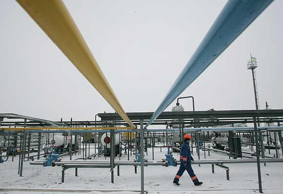 A gas field in Lyvenske, 420km east of Kiev, Ukraine.