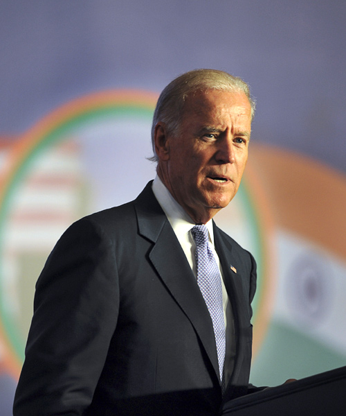 US Vice President Joe Biden delivers an address at the Bombay Stock Exchange.