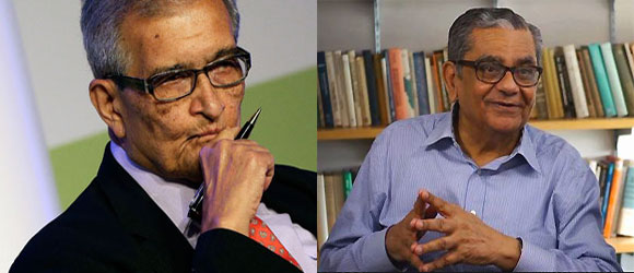 Amartya Sen (L) and Jagdish Bhagwati.