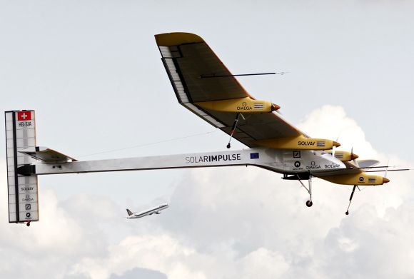 Solar Impulse's Chief Executive Officer and pilot Andre Borschberg takes off with the solar-powered HB-SIA prototype aircraft during a flight from Brussels to Paris.