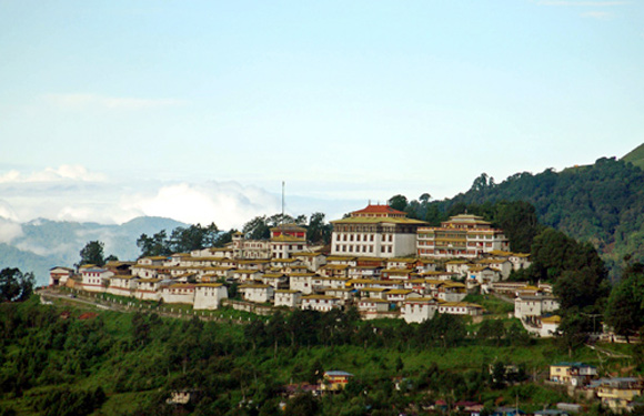 An aerial view shows the Tawang monastery in Arunachal Pradesh.