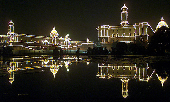 Rastrapati Bhavan illuminated marking the end of the annual Republic Day celebrations.