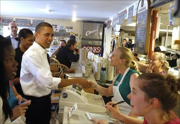 President Obama at a restaurant.