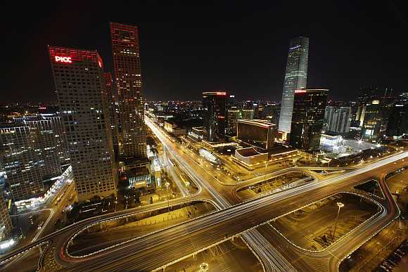 A view shows Yintai Centre, left, and China World Trade Centre Tower III, right, in Beijing's central business district.
