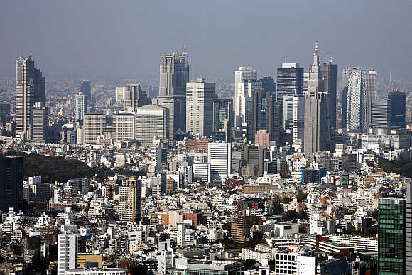 A cluster of high-rise buildings in the Shinjuku district in Tokyo.