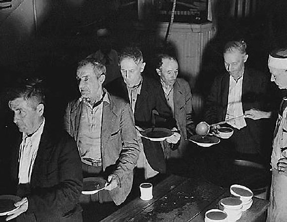 File photo of unemployed men at the Volunteers of America Soup Kitchen in Washington during the Great Depression, 1936.
