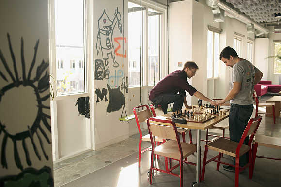 A game of chess at Facebook headquarters in Menlo Park, California.