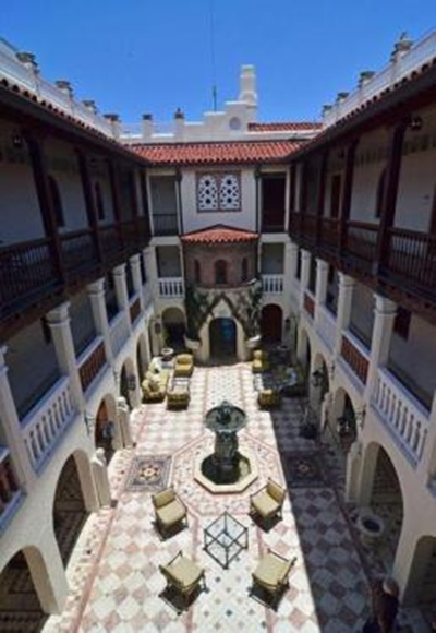 Main courtyard of the South Beach mansion formerly owned by fashion designer Gianni Versace in Miami Beach, Florida.