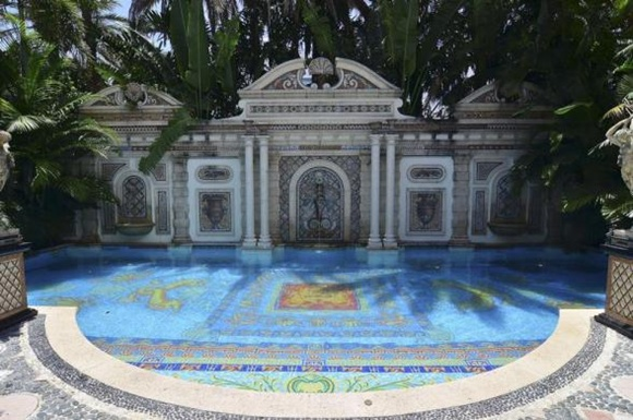 Pool area of the South Beach mansion formerly owned by fashion designer Gianni Versace in Miami Beach, Florida.