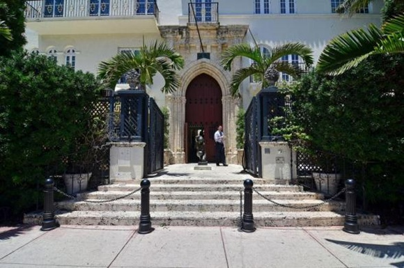 Main entrance hall is seen in a South Beach mansion.