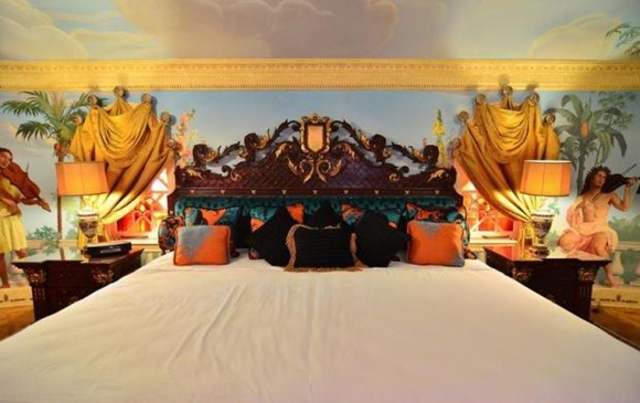 The double king bed of the Empire Suite at the South Beach mansion.