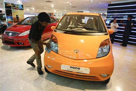 Tata Nano at a showroom.