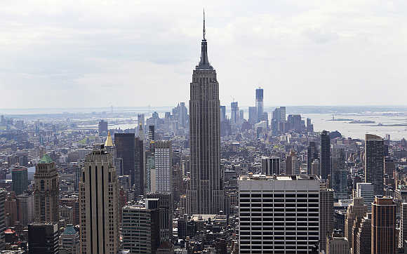 The Empire State Building is seen from the Top of The Rock in New York.