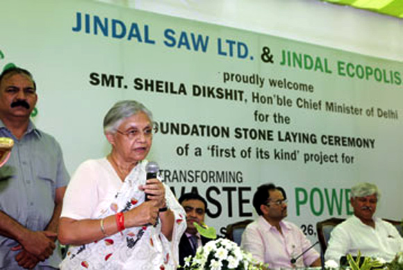 Delhi chief minister at the foundation stone laying ceremony.