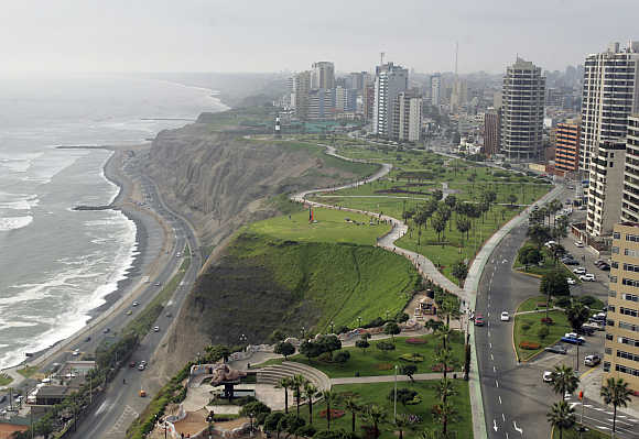 An aerial view of Peru's capital Lima.