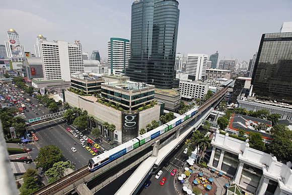 A skytrain in Bangkok, Thailand.