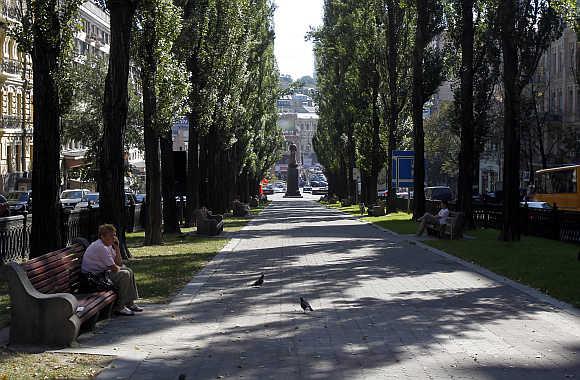 A view of downtown Kiev, capital of Ukraine.