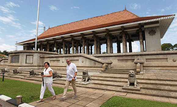 Tourists leave after visiting Independence Square in Colombo, Sri Lanka.