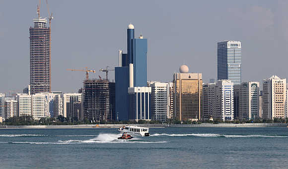 A view of Abu Dhabi skyline in the United Arab Emirates.