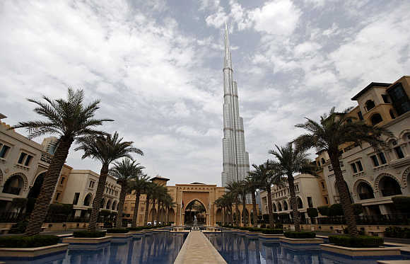 A view of Burj Khalifa from Al Qasr Hotel in the Old Town in downtown Dubai, United Arab Emirates.