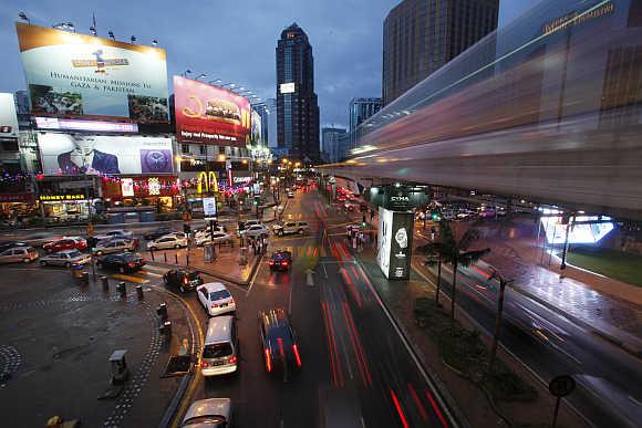 A view of Bukit Bintang shopping district in Kuala Lumpur, Malaysia.