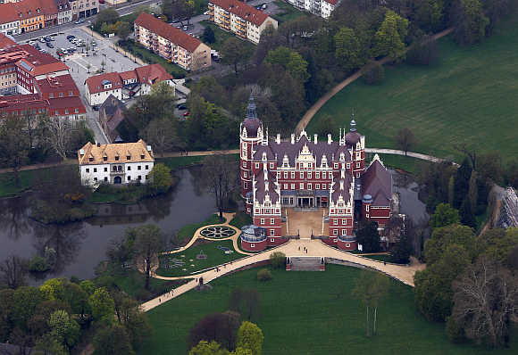 A palace in the world heritage site Fuerst Pueckler Park in Bad Muskau, near the Polish border, in Saxony, Germany.