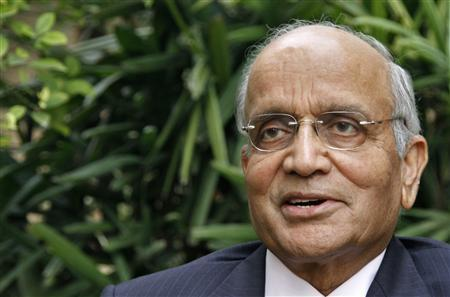 Chairman of Maruti Suzuki India R.C. Bhargava speaks during an interview for the Reuters India Investment Summit at his residence in Noida.