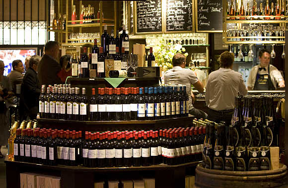 A view of the wine department at French Galeries Lafayette department store in Berlin, Germany.
