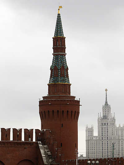 Kremlin Beklemishevskaya Tower, also known as Moskvoretskaya, in central Moscow.