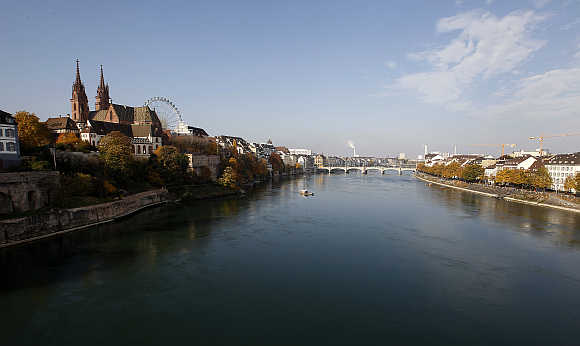 A view shows the city of Basel and the Rhine River.