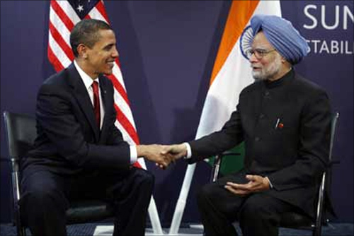 US President Barack Obama meets with India's Prime Minister Manmohan Singh.
