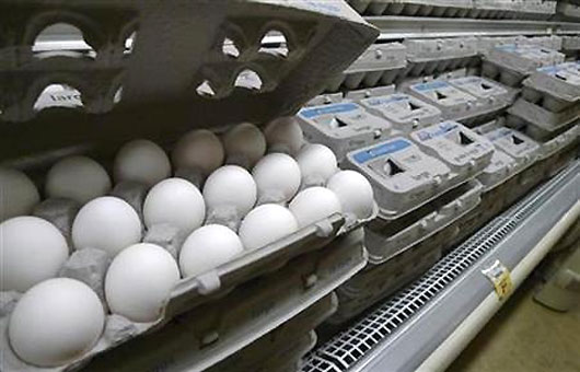 Eggs are pictured for sale at a supermarket.