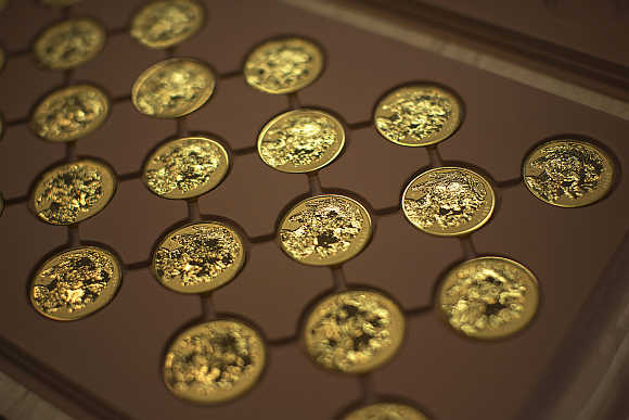 24 karat Buffalo gold reserve proof coins at the United States West Point Mint facility in West Point, New York.