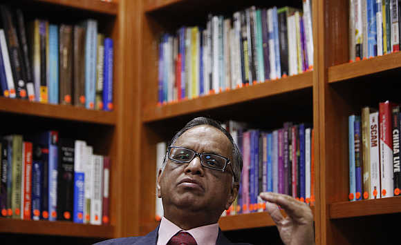 N R Narayana Murthy, Founder and Chairman, Infosys, during an interview with Reuters at the company's office in Bengaluru.