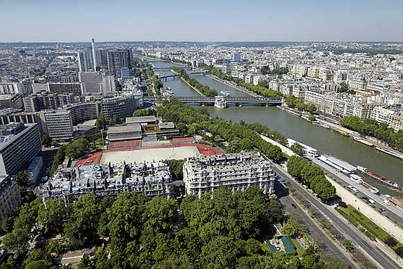 A view of the Paris sky line and the Seine River in France.