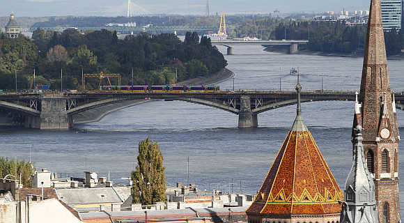 A view of the Margaret Bridge in Budapest, Hungary.